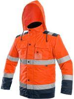 Výstražná bunda zateplená 2v1 LUTON, oranžovo-modrá