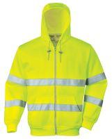 Mikina reflexní Hi-Vis se zipem a kapucí, žlutá