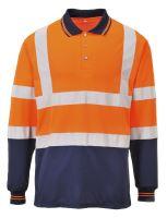 Polokošile dvoubarevná s dlouhým rukávem, oranžovo-modrá