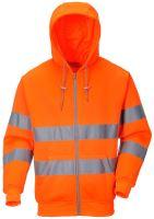 Mikina reflexní Hi-Vis se zipem a kapucí, oranžová