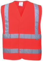 Reflexní vesta TWO BAND & BRACE, červená