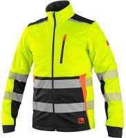 Výstražná softshellová bunda CXS BENSON, žluto-černá